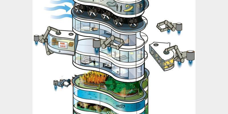 استفاده از رباتها در برج اینده سال 2050 arup